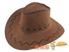 仿麂皮 皮繩滾邊 牛仔帽- 西部帽-表演帽