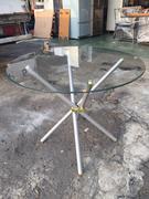 非凡二手家具 全新 烤銀交叉3尺圓玻璃桌